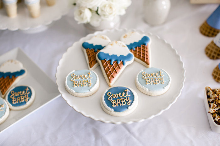 The sweetest sugar cookies from a Sweet Baby Ice Cream Baby Shower via Kara's Party Ideas KarasPartyIdeas.com (18)