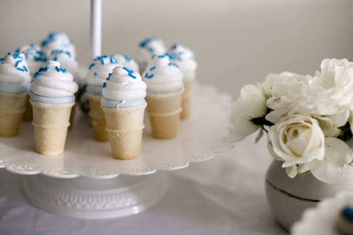 Marshmallow cones from a Sweet Baby Ice Cream Baby Shower via Kara's Party Ideas KarasPartyIdeas.com (17)