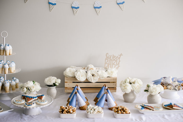 Sweet Table from a Sweet Baby Ice Cream Baby Shower via Kara's Party Ideas KarasPartyIdeas.com (13)