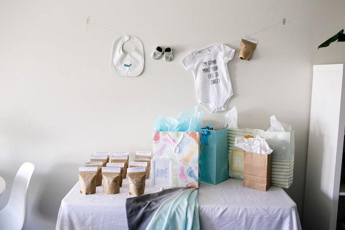 Gift table from a Sweet Baby Ice Cream Baby Shower via Kara's Party Ideas KarasPartyIdeas.com (12)