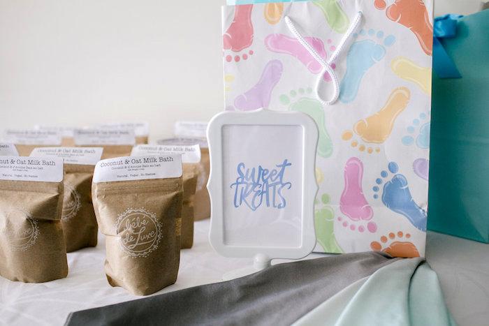 Gift + favor table from a Sweet Baby Ice Cream Baby Shower via Kara's Party Ideas KarasPartyIdeas.com (9)