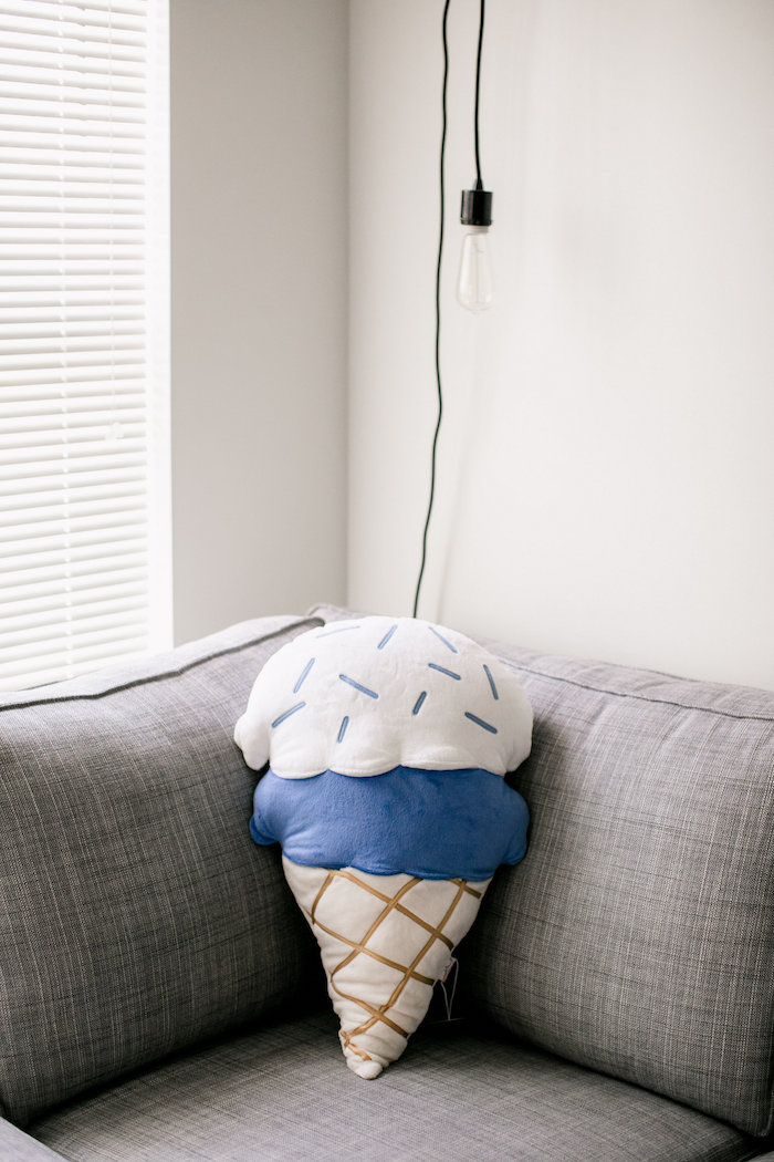 Ice cream cone pillow from a Sweet Baby Ice Cream Baby Shower via Kara's Party Ideas KarasPartyIdeas.com (29)