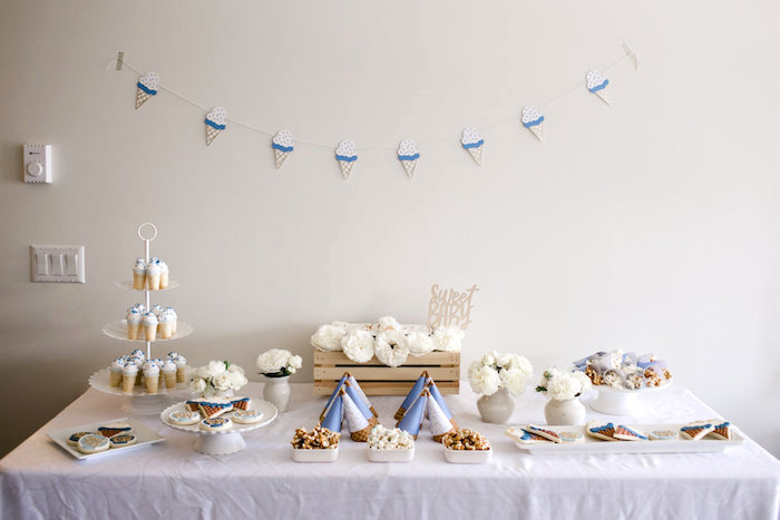 Dessert table from a Sweet Baby Ice Cream Baby Shower via Kara's Party Ideas KarasPartyIdeas.com (28)
