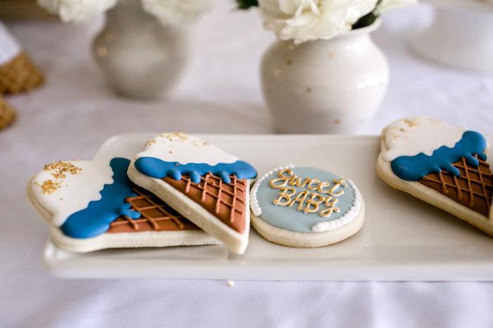 Cute cookies from a Sweet Baby Ice Cream Baby Shower via Kara's Party Ideas KarasPartyIdeas.com (26)
