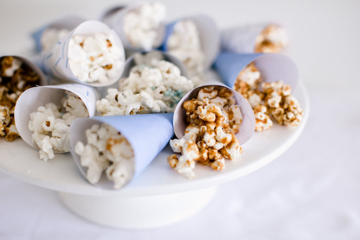 Popcorn favor cones from a Sweet Baby Ice Cream Baby Shower via Kara's Party Ideas KarasPartyIdeas.com (24)