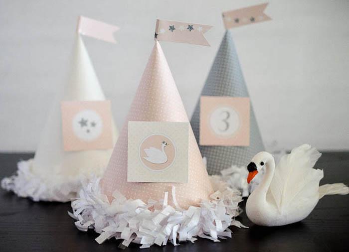 Party hats from a Sweet Swan Themed Birthday Party via Kara's Party Ideas | KarasPartyIdeas.com (14)