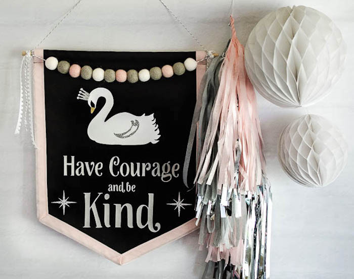 Backdrop decor from a Sweet Swan Themed Birthday Party via Kara's Party Ideas | KarasPartyIdeas.com (9)