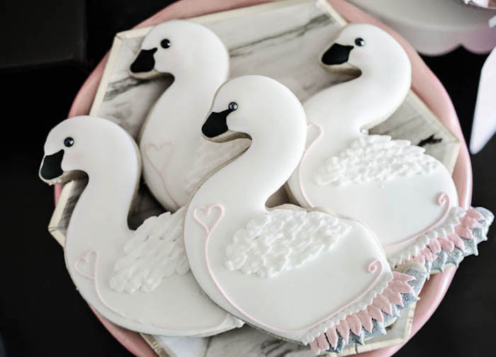 Swan cookies from a Sweet Swan Themed Birthday Party via Kara's Party Ideas | KarasPartyIdeas.com (8)