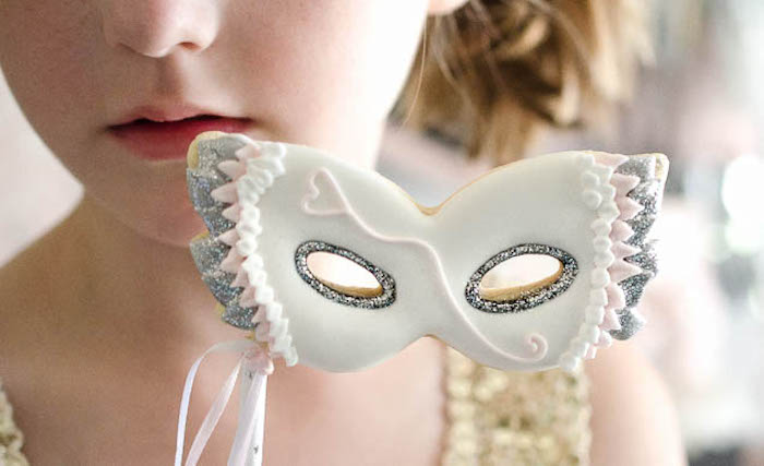Masquerade Mask cookie from a Sweet Swan Themed Birthday Party via Kara's Party Ideas | KarasPartyIdeas.com (6)