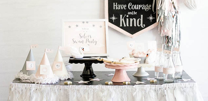 Sweet Swan Themed Birthday Party via Kara's Party Ideas | KarasPartyIdeas.com (2)