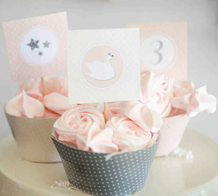 Cups of mini meringue cookies + kisses from a Sweet Swan Themed Birthday Party via Kara's Party Ideas | KarasPartyIdeas.com (23)