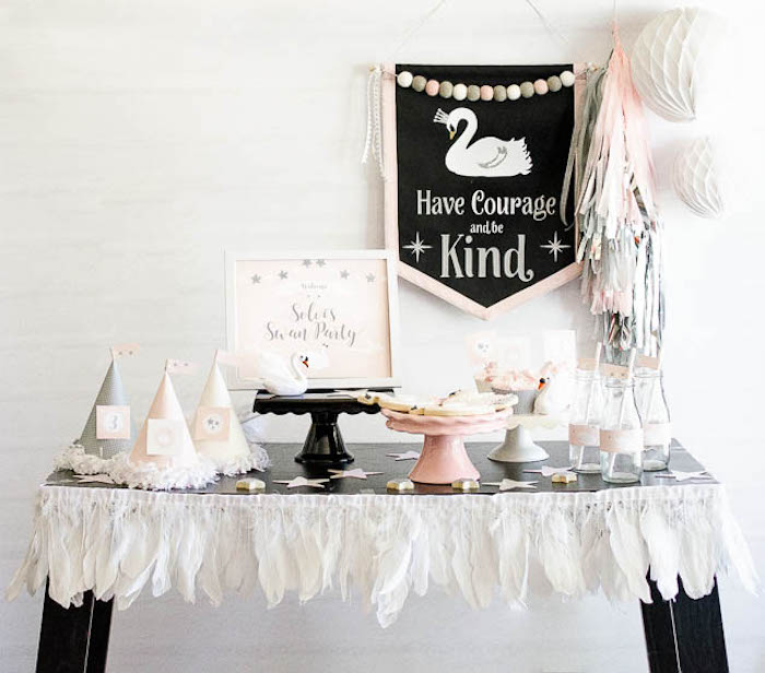 Karas Party Ideas Sweet Swan Themed Birthday Party
