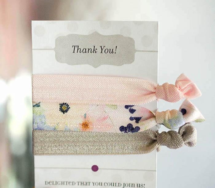 Hair tie favor pack from a Sweet Swan Themed Birthday Party via Kara's Party Ideas | KarasPartyIdeas.com (19)