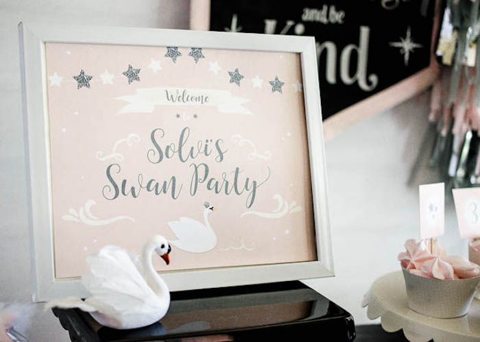 Welcome sign from a Sweet Swan Themed Birthday Party via Kara's Party Ideas | KarasPartyIdeas.com (17)