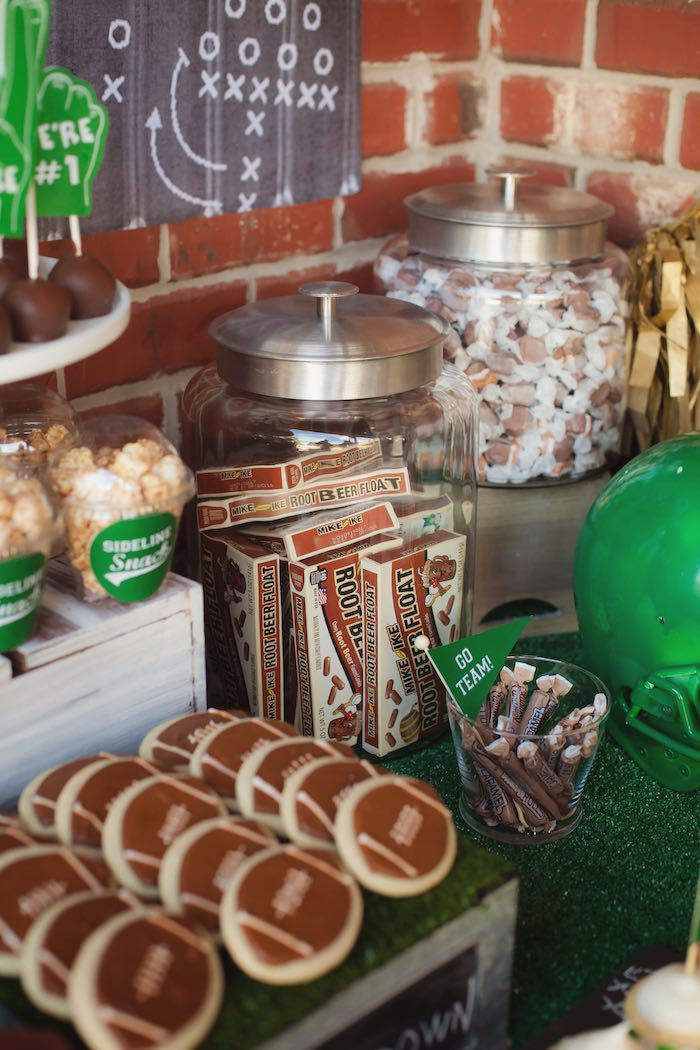 Candy jars from a Tailgate Football Birthday Party via Kara's Party Ideas | KarasPartyIdeas.com | The place for all things Party! (36)