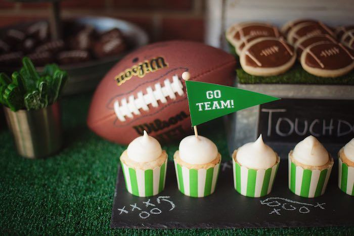 Cupcakes from a Tailgate Football Birthday Party via Kara's Party Ideas | KarasPartyIdeas.com | The place for all things Party! (34)