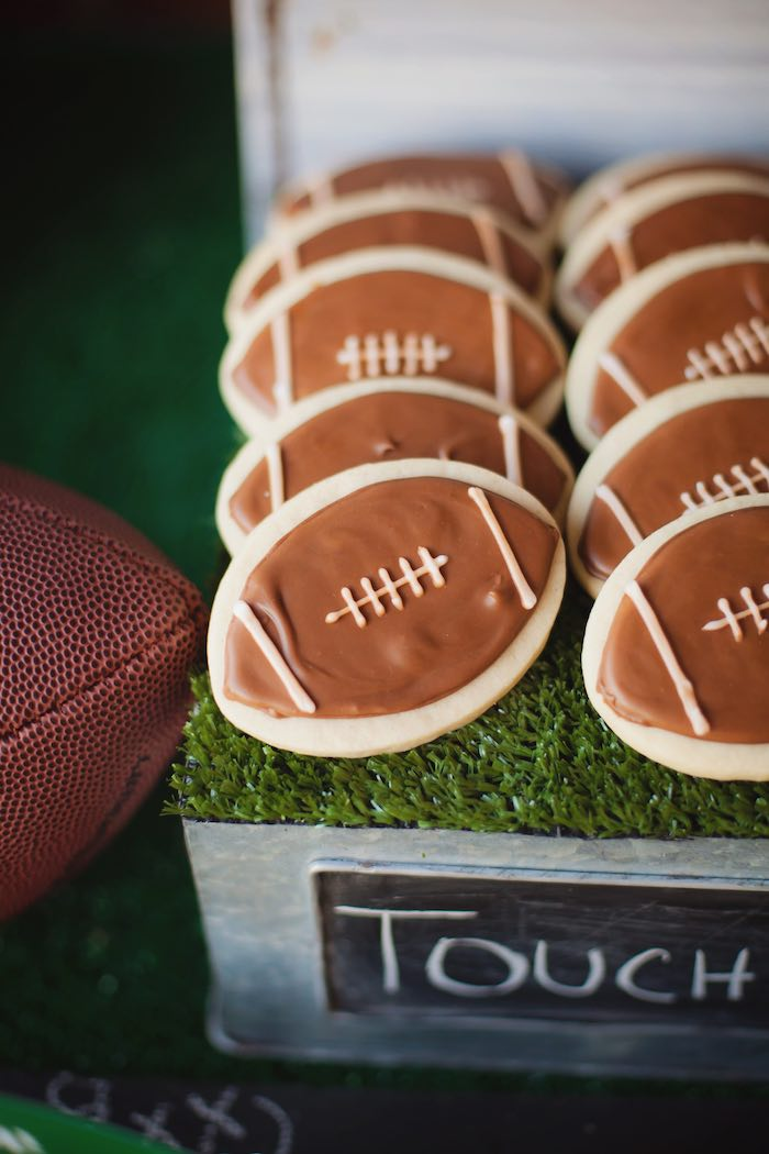 Football cookies from a Tailgate Football Birthday Party via Kara's Party Ideas | KarasPartyIdeas.com | The place for all things Party! (30)