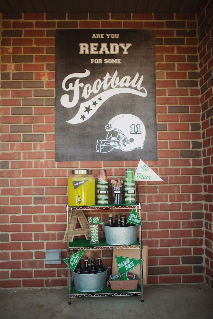 Drink cart from a Tailgate Football Birthday Party via Kara's Party Ideas | KarasPartyIdeas.com | The place for all things Party! (29)