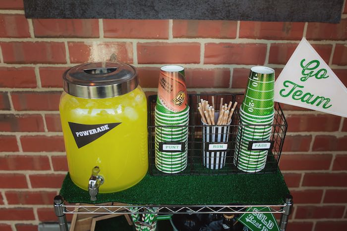 Beverage cart from a Tailgate Football Birthday Party via Kara's Party Ideas | KarasPartyIdeas.com | The place for all things Party! (28)
