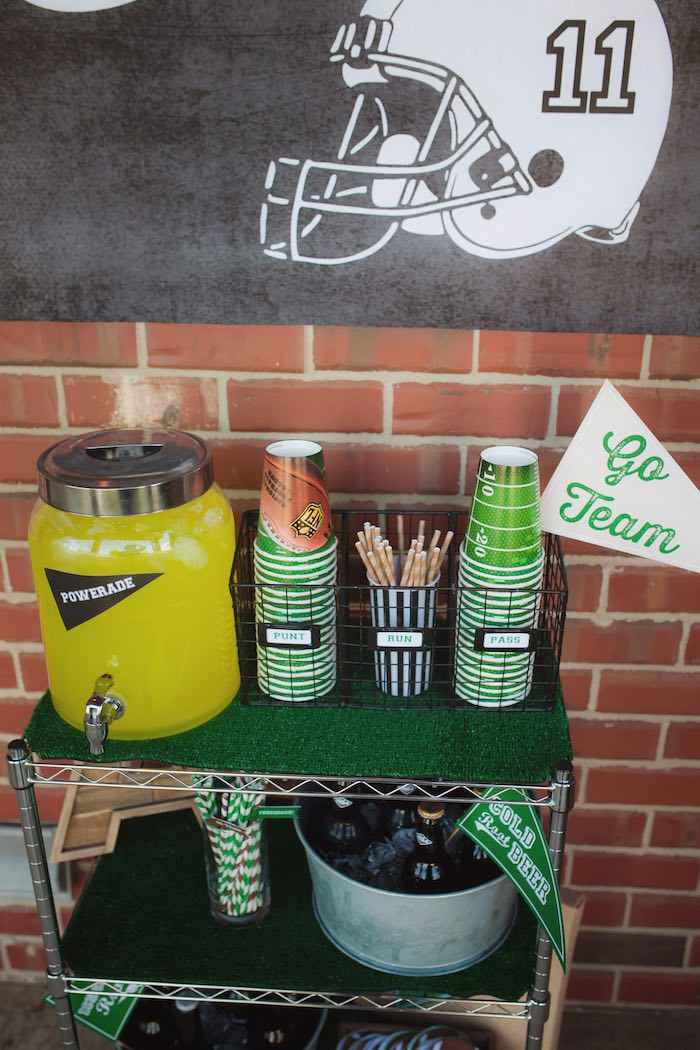 Beverage cart from a Tailgate Football Birthday Party via Kara's Party Ideas | KarasPartyIdeas.com | The place for all things Party! (27)