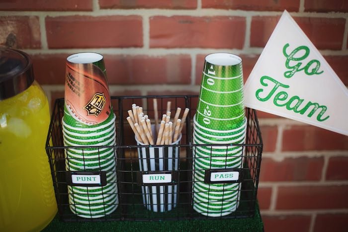 Cups from a Tailgate Football Birthday Party via Kara's Party Ideas | KarasPartyIdeas.com | The place for all things Party! (26)