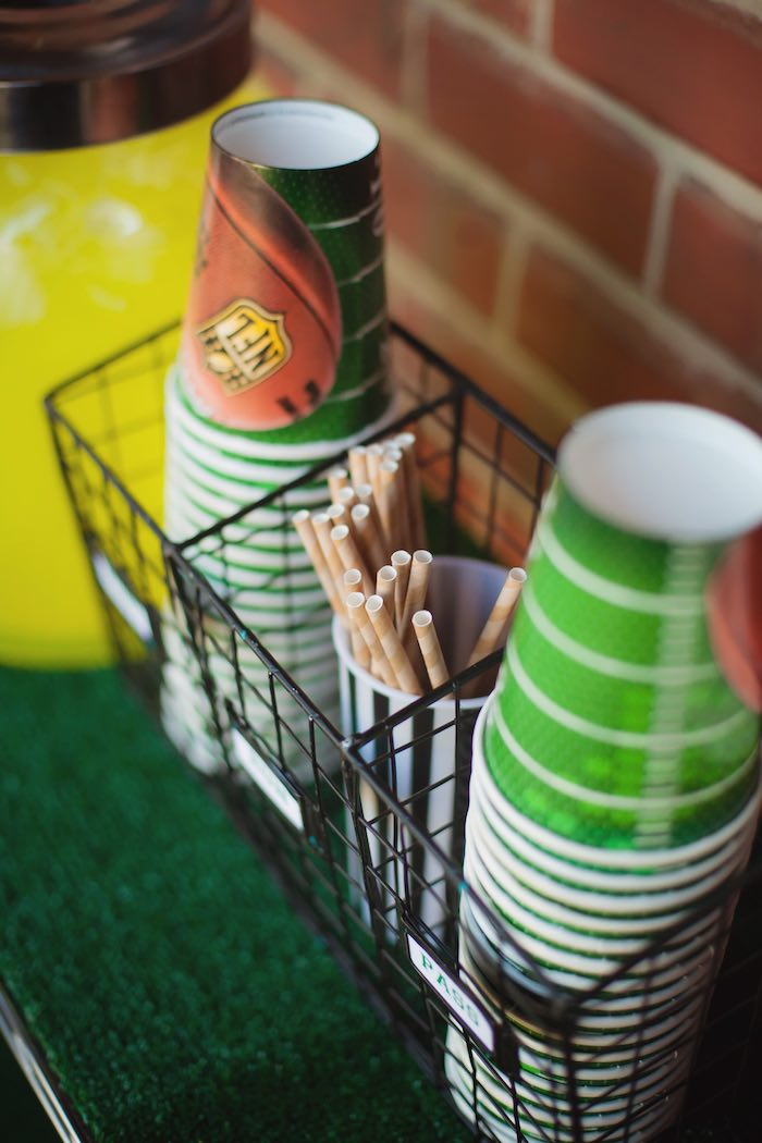 Cups from a Tailgate Football Birthday Party via Kara's Party Ideas | KarasPartyIdeas.com | The place for all things Party! (25)