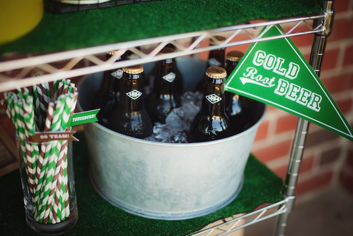 Glass root beer bottles from a Tailgate Football Birthday Party via Kara's Party Ideas | KarasPartyIdeas.com | The place for all things Party! (24)