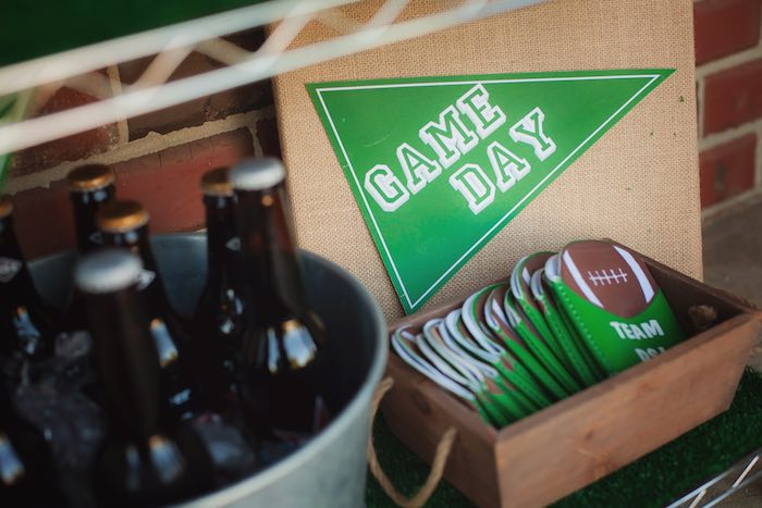 Drink koozies from a Tailgate Football Birthday Party via Kara's Party Ideas | KarasPartyIdeas.com | The place for all things Party! (23)