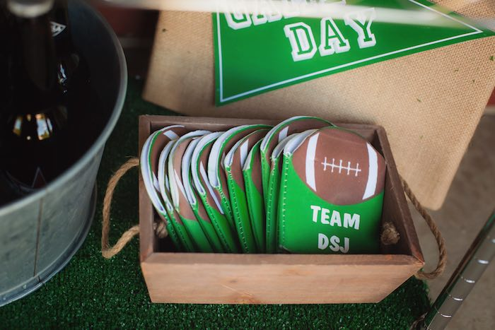 Drink koozies from a Tailgate Football Birthday Party via Kara's Party Ideas | KarasPartyIdeas.com | The place for all things Party! (22)