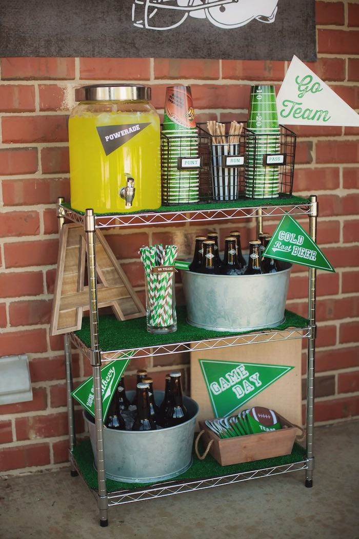 Drink cart from a Tailgate Football Birthday Party via Kara's Party Ideas | KarasPartyIdeas.com | The place for all things Party! (21)