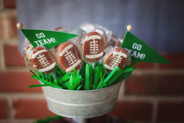 Football pops from a Tailgate Football Birthday Party via Kara's Party Ideas | KarasPartyIdeas.com | The place for all things Party! (20)