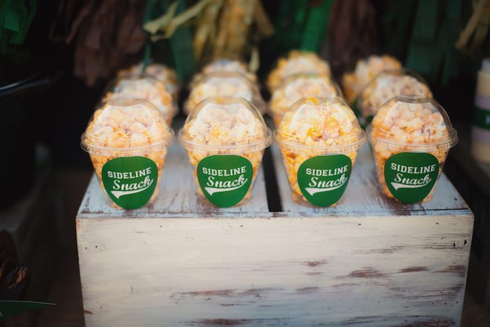 Sideline Popcorn Snacks From A Tailgate Football Birthday Party Via Karas Ideas