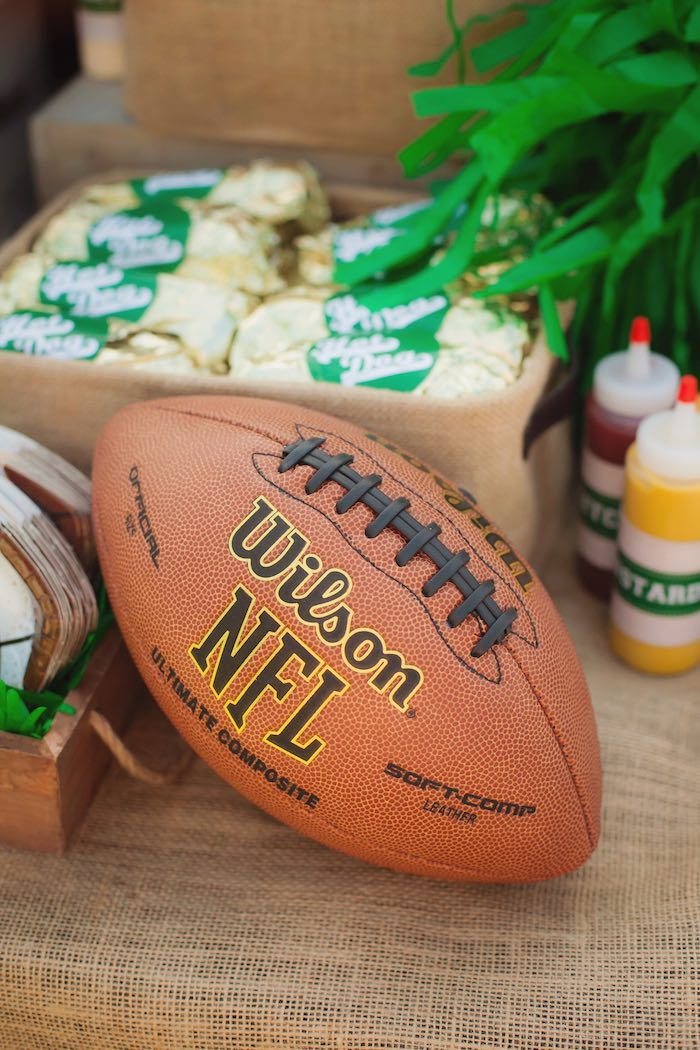 Football decor from a Tailgate Football Birthday Party via Kara's Party Ideas | KarasPartyIdeas.com | The place for all things Party! (16)