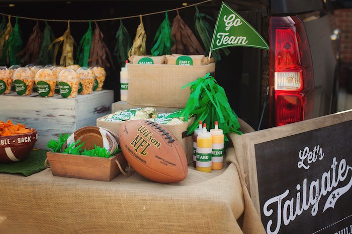Food + snack bar from a Tailgate Football Birthday Party via Kara's Party Ideas | KarasPartyIdeas.com | The place for all things Party! (13)
