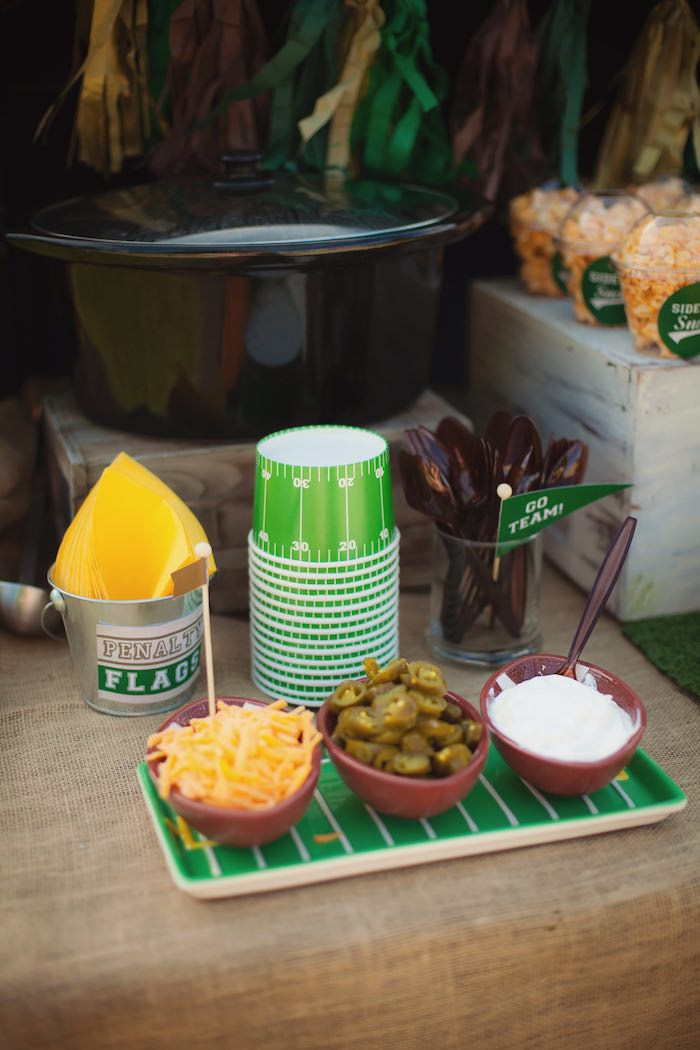 Tailgate toppings from a Tailgate Football Birthday Party via Kara's Party Ideas | KarasPartyIdeas.com | The place for all things Party! (12)