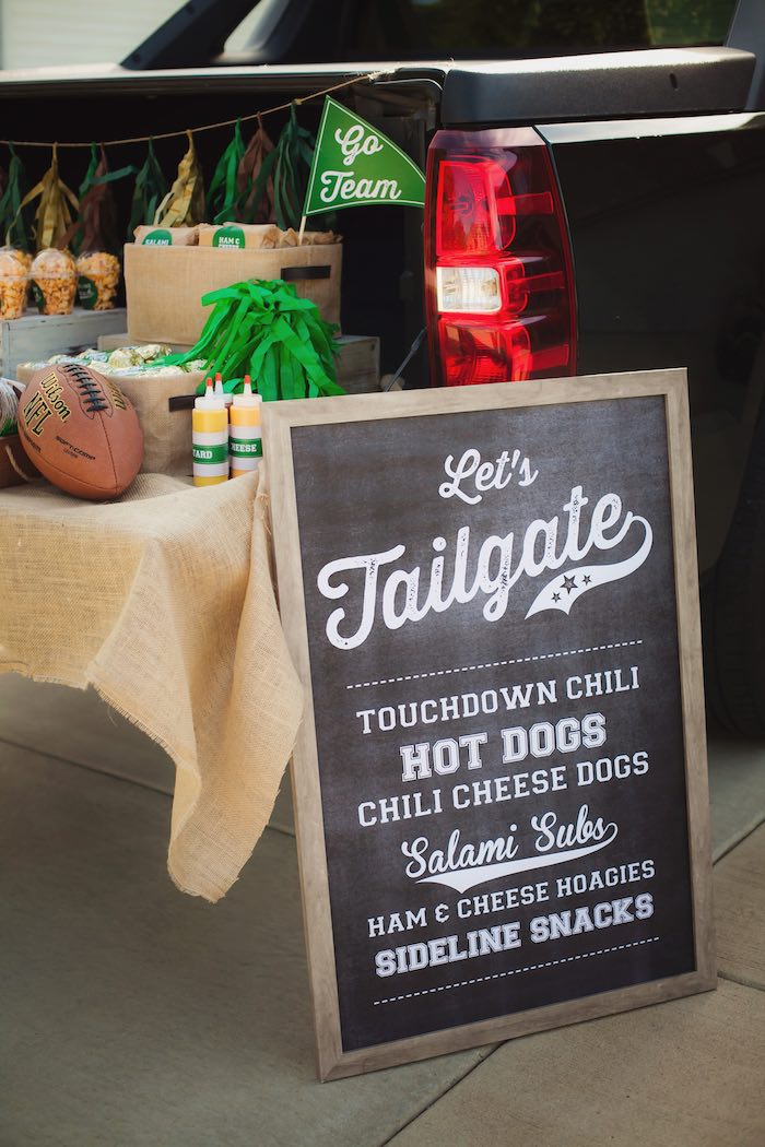 Chalkboard Menu from a Tailgate Football Birthday Party via Kara's Party Ideas | KarasPartyIdeas.com | The place for all things Party! (10)