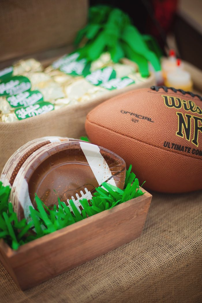 Football plates from a Tailgate Football Birthday Party via Kara's Party Ideas | KarasPartyIdeas.com | The place for all things Party! (6)