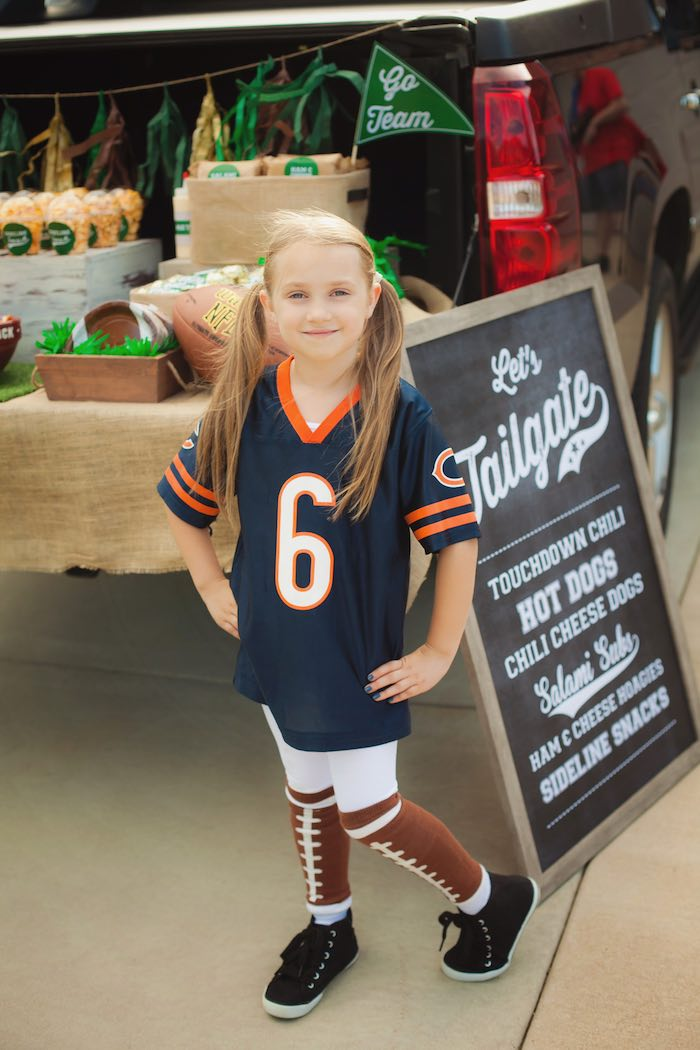 Little girl from a Tailgate Football Birthday Party via Kara's Party Ideas | KarasPartyIdeas.com | The place for all things Party! (5)