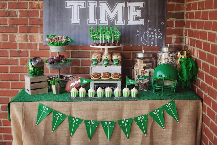 Dessert table from a Tailgate Football Birthday Party via Kara's Party Ideas | KarasPartyIdeas.com | The place for all things Party! (43)