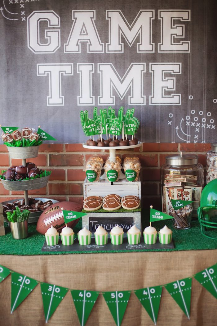 Dessert table detail from a Tailgate Football Birthday Party via Kara's Party Ideas | KarasPartyIdeas.com | The place for all things Party! (42)