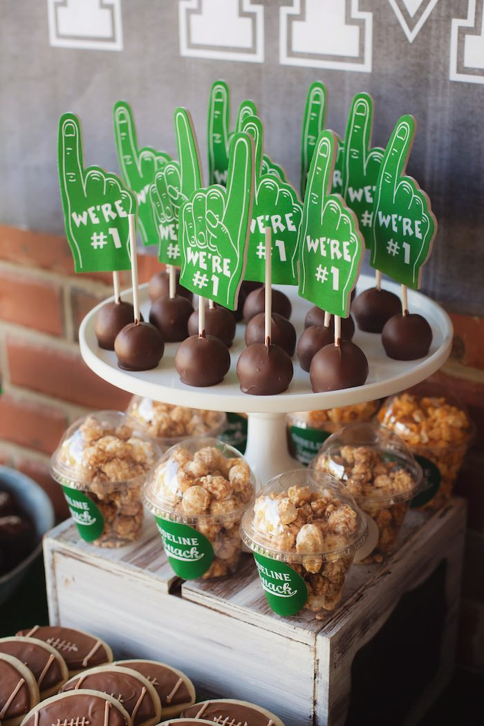 #1 finger foam cake pops + popcorn cups from a Tailgate Football Birthday Party via Kara's Party Ideas | KarasPartyIdeas.com | The place for all things Party! (41)