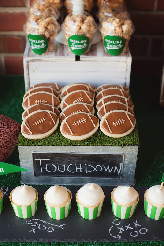 Sideline snacks + sweets from a Tailgate Football Birthday Party via Kara's Party Ideas | KarasPartyIdeas.com | The place for all things Party! (40)