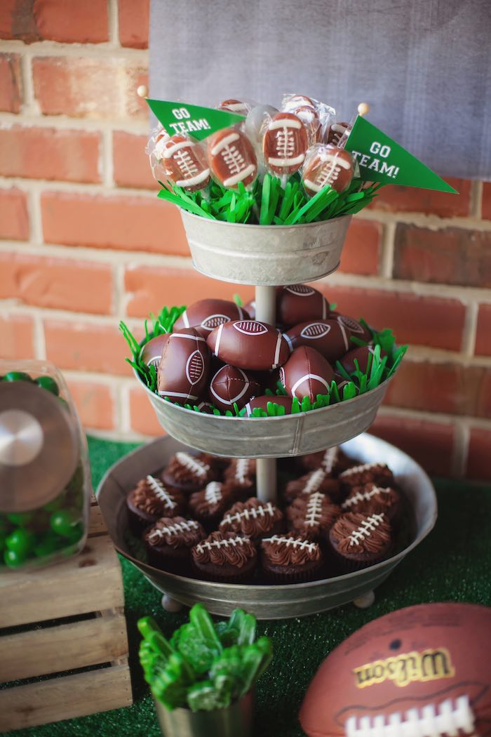 Football favors + sweets from a Tailgate Football Birthday Party via Kara's Party Ideas | KarasPartyIdeas.com | The place for all things Party! (39)