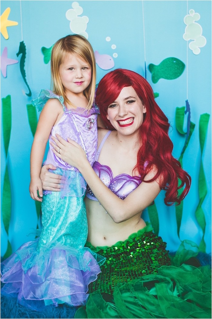 Photo op of the birthday girl & Princess Ariel from an Under the Sea Birthday + Mermaid Party via Kara's Party Ideas | Full of fabulous party ideas, supplies, printables and more! KarasPartyIdeas.com (7)