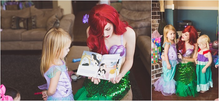 Princess Ariel reading a story at an Under the Sea Birthday + Mermaid Party via Kara's Party Ideas | Full of fabulous party ideas, supplies, printables and more! KarasPartyIdeas.com (5)