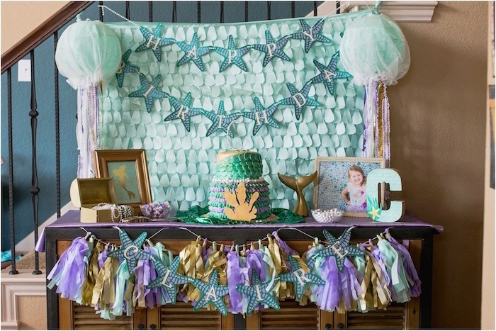 Dessert table from an Under the Sea Birthday + Mermaid Party via Kara's Party Ideas | Full of fabulous party ideas, supplies, printables and more! KarasPartyIdeas.com (4)
