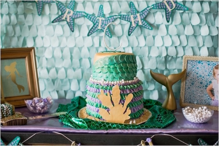 Cake from an Under the Sea Birthday + Mermaid Party via Kara's Party Ideas | Full of fabulous party ideas, supplies, printables and more! KarasPartyIdeas.com (17)