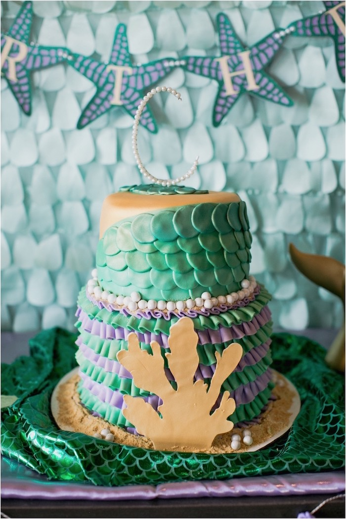 Adorable under the sea birthday cake from an Under the Sea Birthday + Mermaid Party via Kara's Party Ideas | Full of fabulous party ideas, supplies, printables and more! KarasPartyIdeas.com (12)