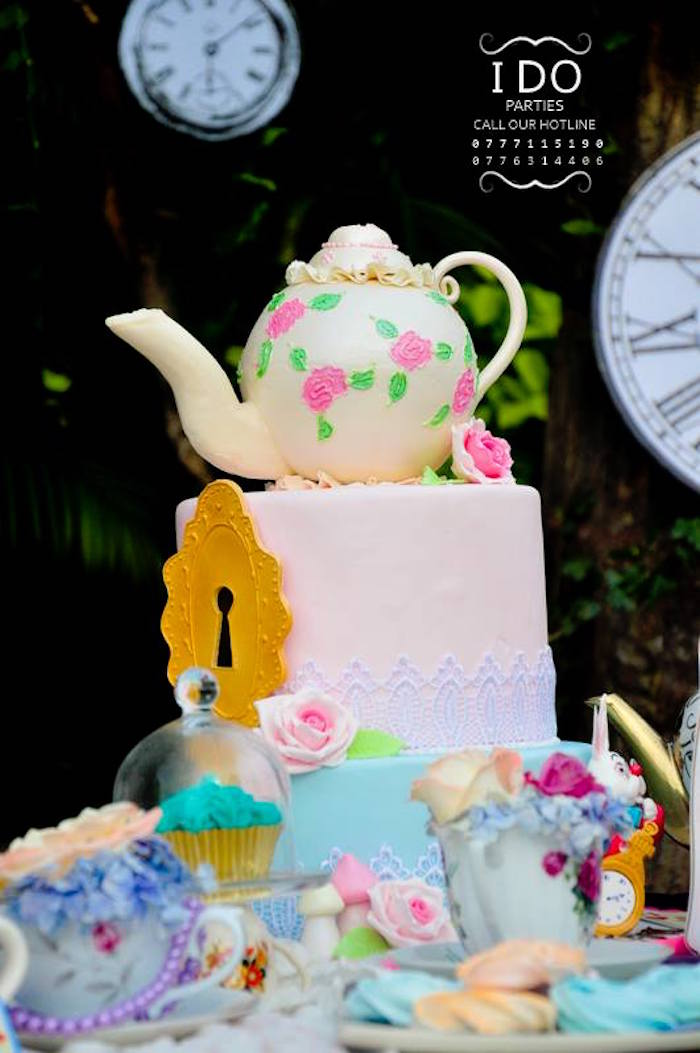 Alice in Wonderland Cake from a Vintage Alice in Wonderland Birthday Tea Party on Kara's Party Ideas KarasPartyIdeas.com (43)