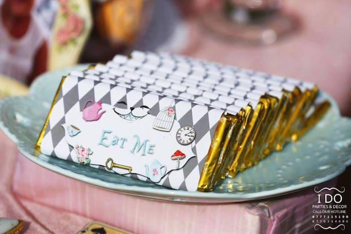 Candy bars from a Vintage Alice in Wonderland Birthday Tea Party on Kara's Party Ideas KarasPartyIdeas.com (42)